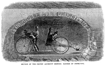 "Section of the Croton Aqueduct showing manner of inspecting. (From ""Croton Water"