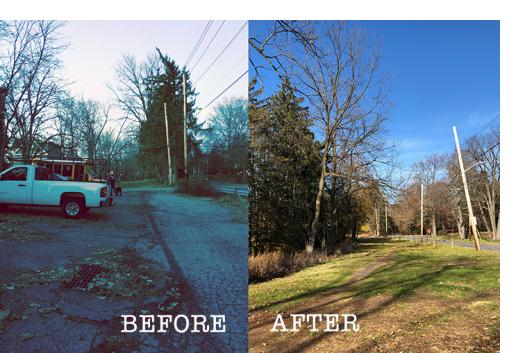 Before and after reclamation of the Old Croton Aqueduct trail in Tarrytown